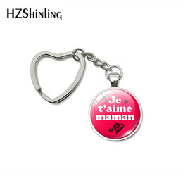 silver plants NZ - 2019 New Fashion Happy Mother's Day Heart Keychains Je t'aime Maman Quotes Silver Hand Craft Key Chain for Mother Gifts Keyring