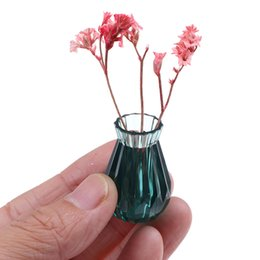 toy furniture wholesale Canada - 2pcs set Colorful 1:12 mini model doll house translucent and beautiful vase