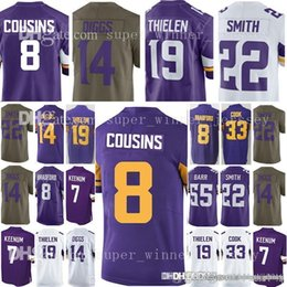 c5de28730 Men's Minnesota 8 Kirk Cousins 19 Adam Thielen 14 Stefon Diggs Jersey Viking  22 Harrison Smith 55 Anthony Barr 33 Dalvin Cook Jerseys