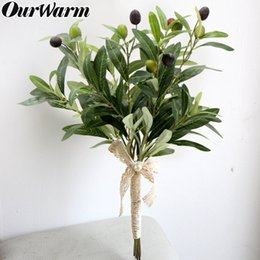 fruit bouquets NZ - wholesale 10Pcs 43cm Artificial Olive Branch with Fruits Decorative Fake Plants for Wedding Table Decoration DIY Bridal Bouquet