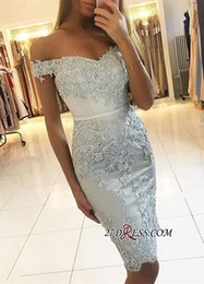 Elastic Off Shoulder Dress Pattern NZ - Short Mermaid Prom Dresses Off the Shoulder Beaded Lace Appliques Formal Evening Gowns Cocktail Party Homecoming Dress Graduation Gown
