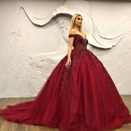 $enCountryForm.capitalKeyWord Australia - 2019 Burgundy Beaded Sequins Prom Dresses Sweetheart Beaded Ball Gown Evening Dresses Sexy Charming Party Formal Pageant Gowns