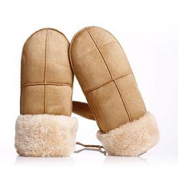 Pink Leather Gloves Australia - Fashion Women Gloves Winter Thicken Warm Suede Leather Gloves Full Finger Mittens Elegant Ladies Outdoor Ski Guantes