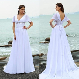 simple high neck long dress NZ - Elegant Simple Beach Wedding Dresses Plus Size V Neck Cap Sleeve Backless Long Wedding Gown With Beads