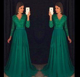 $enCountryForm.capitalKeyWord Australia - 2018 Dark Green Prom Dress V Neck Long Sleeves Chiffon Formal Holidays Wear Graduation Evening Party Gown Custom Made Plus Size