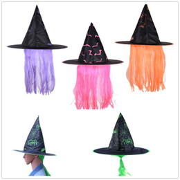 $enCountryForm.capitalKeyWord Australia - Halloween Witch Hat Cloth Party Dress Up Cap Wig Hats Makeup Props For Party Festival Cosplay Masquerade 38 X 38 X 75cm