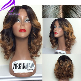 sexy wavy hair Australia - Sexy Ombre blonde wig short lace front wigs for black women 13X4 Wavy Lace Front Wig Brazilian Wigs Synthetic Hair