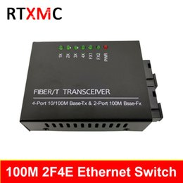 fiber port Australia - 2F4E Fast Erhetnet Switch 10 100M Ethernet Switch 2 Fiber Port 155M SC 25KM 4 UTP RJ45 Fiber Optical