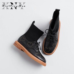 $enCountryForm.capitalKeyWord Australia - Fashion Women's Casual Shoes Short Boots European American Style Soft Genuine Leather Heart-shaped Wool Mouth Boots Martin