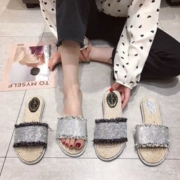 flax clothing NZ - Crystal2019 Rhinestone Joker Flax Slipper Woman Summer Outside Clothes Flat Bottom Straw Plaited Article Fisherman Shoe One Font Sandals