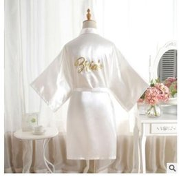 $enCountryForm.capitalKeyWord NZ - Silk Satin Wedding Bride Bridesmaid Robe Solid Bathrobe Short Kimono Robe Night Bath Robe Fashion Dressing Gown For Wome