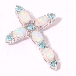$enCountryForm.capitalKeyWord NZ - Christmas Gift Vintage White Fire Opal Cross Pendant Necklace Sapphire Birthstone Jewelry Gifts Women Wedding Party Necklace Accessories