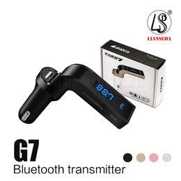Vente en gros G7 Voiture Sans Fil Bluetooth MP3 Transmetteur FM Modulateur 2.1A Chargeur De Voiture Kit Sans Fil Support Mains Libres Micro SD TF