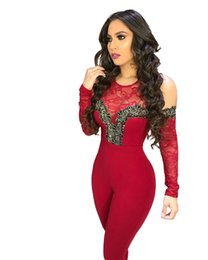 483926e1b7c8 2019 Lacy Sheer Lace Patchwork Cold Shoulder Bandage Jumpsuit Long Sleeve  Casual Romper Stretchy Women Club Outfits Overalls