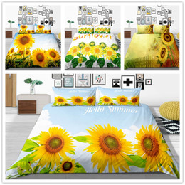 black flower comforter Australia - Beautiful Bedding Set Comforter Cover Twin Full Queen Size Bed Set with Sun Flowers Gift for Women Adult of Home Bedclothes