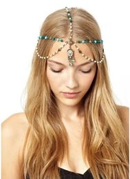 head chain headband Australia - 2019 new arrival headbands for women Europe and the United States foreign trade hair jewelry head chain Bohemian turquoise stone water drop
