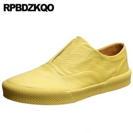 sneaker men brand famous 2019 - men casual british style fashion high quality shoes brand famous sneakers trainers slip on yellow skate custom black des