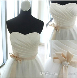 $enCountryForm.capitalKeyWord Australia - White Satin and Tulle Sweetheart Bridesmaid Dresses With Sash A-line Short Knee-Length Prom Evening Gowns Customer Made Real Pictures