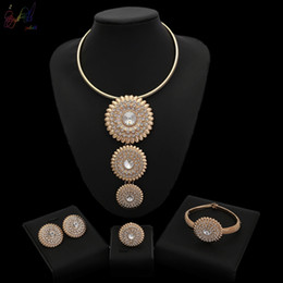 Round Bracelet Gift Boxes Australia - Yulaili Dubai Jewelry Sets Women Gold-color Round Fashion Bridal Wedding Necklace Bracelet Earrings Ring Jewelry Accessories Free Gift Box