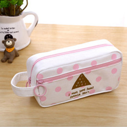 wholesale large pens Australia - Women Canvas Makeup Pouch Students Pencil Case Large Capacity Cosmetic Bag Pen Box Stationery Organizer Bags