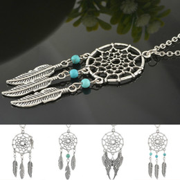 $enCountryForm.capitalKeyWord Australia - Ancient Silver Alloy Chian Necklace Men Women Vintage Green Stone Dream Catcher Leaves Tassel Feather Pendant Necklace Jewelry Collares Gift