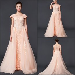 Big Bead Red Coral Australia - High Quality Formal A-Line Evening Dresses Noble And Elegant Large Round Neck Pink Lace Applique Bead Spring And Summer Big Party Dresses