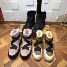 female boot sole Australia - 2019 new winter high sole thermal brand design round head fur integrated boots female snow boots