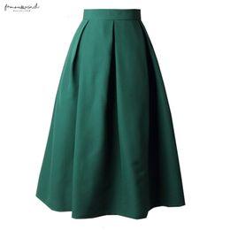 Skirt pluS SizeS online shopping - 2019 Summer Pleated Ball Gown Skater Midi Skirts Womens Solid Plus Size Xxxl Office Black Wear Tutu Saias S8322