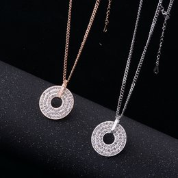 Diamond Jewelry Wholesale 18k Australia - Korean version of diamond-encrusted mud drill sweater chain titanium steel 18k rose gold long necklace colorfast women's jewelry