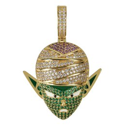 man chain silver gold NZ - Dragon Ball Character Piccolo Pendant Necklace Hip Hop Iced Out CZ Gold Silver Color Men Women Charms Chain Jewelry Gift