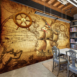 world map murals Australia - Retro Nostalgia Poster 3D Room Wallpaper Custom Mural Non-woven Wall Paper Decor Navigation Sailing World Map Mural Paintings