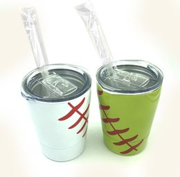 stainless tumblers NZ - 2019 Tumbler Baseball cups wine glasses Stainless Steel Beer Mug with straws sport cups no Vacuum Insulated 8.5oz