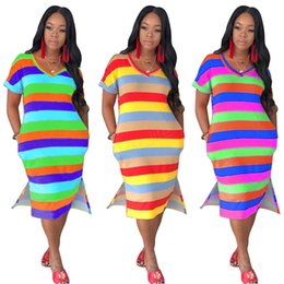 women pocket t shirts wholesale Canada - Women striped midi dresses summer clothing contrast color v-neck t-shirt short sleeve loose pocket fashion street dresses