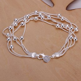 $enCountryForm.capitalKeyWord NZ - Silver plated exquisite chain cute women beads bracelet fashion charm nice wedding lady female section jewelry H234