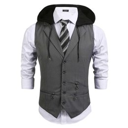 Wholesale slim fit sleeveless hoodie for sale - Group buy Mens Casual Striped Hoodie Sleeveless Slim Fit Button Pockets Spring Autumn Button Pockets Zipper Vest