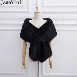 White Faux Fur Shorts Australia - JaneVini 2019 Faux Fur Black Shrug Winter Short Shrugs for Women Warm Wedding White Cape Wraps Shawl Stoles Bridal Bolero Fourrure