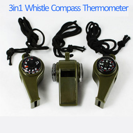 Wholesale 3 in Outdoor Camping Hiking Outdoor Gadgets Outdoor Gear Emergency Survival Gear Whistle Compass Thermometer