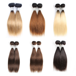 12 inch remy hair cheap online shopping - Cheap Color Human Hair Weave Bundles Ombre blonde Brown Short Bob Inch Bundles set Malaysian Straight Hair Remy Hair Extensions