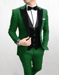 Brown Business vest online shopping - Fashion Green Groom Tuxedos Peak Lapel Groomsman Wedding Piece Suit Fashion Men Business Prom Jacket Blazer Jacket Pants Tie Vest