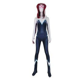$enCountryForm.capitalKeyWord UK - Spider-Man: Into the Spider-Verse Gwen Stacy Spandex Lycra Zentai Spiderman for Halloween and Cosplay Party