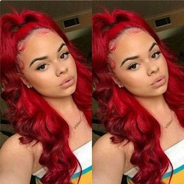 $enCountryForm.capitalKeyWord Australia - Full Lace Human Hair Wigs Colorful Brazilian Virgin Human Hair Lace Front Wigs Pre-Plucked Red Top Grade Full Lace Wigs
