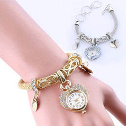 fashion love watch NZ - Free DHL 2 Styles Love Crystal Watch Bangle Bracelet Women Fashion Accessories Jewelry Watches Vintage Analog Quartz Wrist Watches