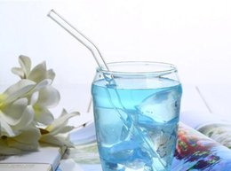 plastic drink glasses wholesale Canada - Glass Straw bent curve drinking straws High Borosilicate Glass Pipet bar tool