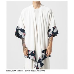 Chinese Casual Jacket NZ - Sinicism Store Summer Men Chinese Style Jacket Streewear Cotton Linen Clothes Casual Male Hanfu Print Jackets Mens 2019 Oversize