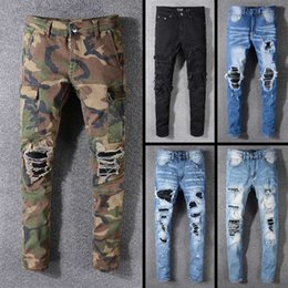 2da3bbeb3c 2019 Nuevo diseñador de vestuario de la marca famosa largo ripped jeans  para hombre de calidad superior de moda de lujo biker jeans para hombres  venta ...