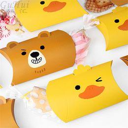 $enCountryForm.capitalKeyWord NZ - 50pcs Cute Cartoon Bear Duck Pillow Shape Candy Box Wedding Favor Party Guest Baby Show Kids Birthday Gift Bag Paper Packaging