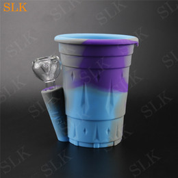 Discount dabbing cup - China Wholesale Silicone water cup Collapsible Bong two layers Bubbler Wax DAB Smoking Glass Water Pipe SILICLAB Patente