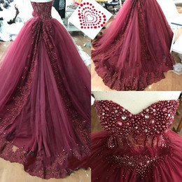 Strapless Sequin Red Dress Australia - Luxury Pearls Crystal Beaded Quinceanera Prom Dresses Lace Applique Sequins Strapless Lace-up Tiered Skirt Sweet 16 Dress Party Celebrity