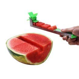 Cutter Fruit Watermelon Australia - Watermelon Slicer Cutter Stainless Steel Knife Corer Tongs Windmill Watermelon Cutting Fruit Vegetable Tools Kitchen Gadgets free shipping