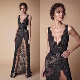 Berta Black Summer Dresses Australia - Black Berta Prom Dresses Sexy High Front Split Deep V Neck Lace Evening Dress Dubai Party Gowns Vestido de fiesta